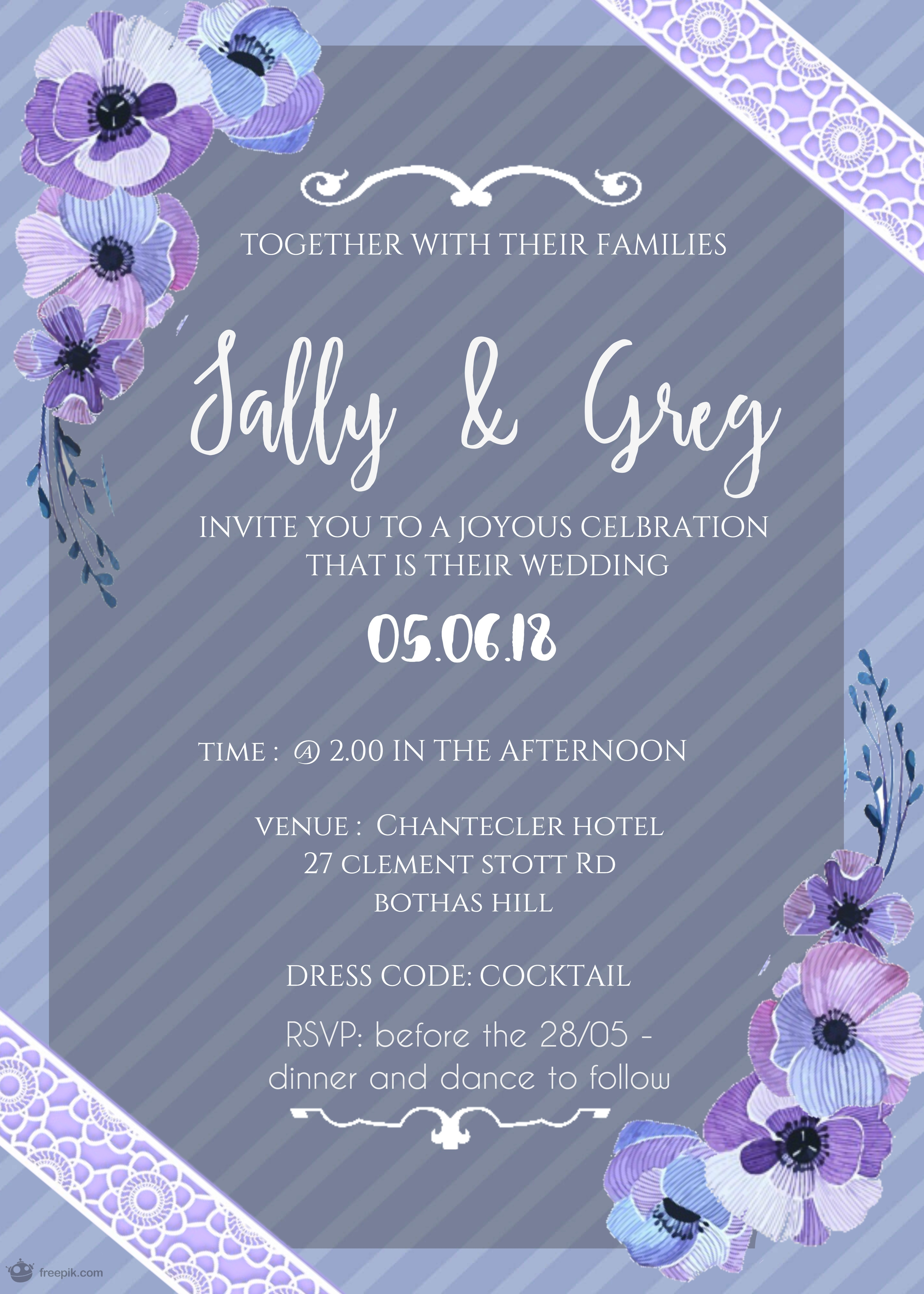 To design a custom wedding invitation Incl free label design and save the date card for FREE