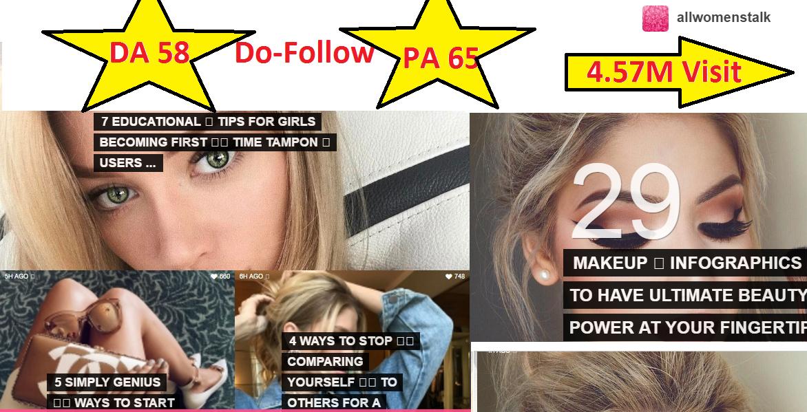 Guest Post On Allwomenstalk DA 58 (HQ links for rank boost)