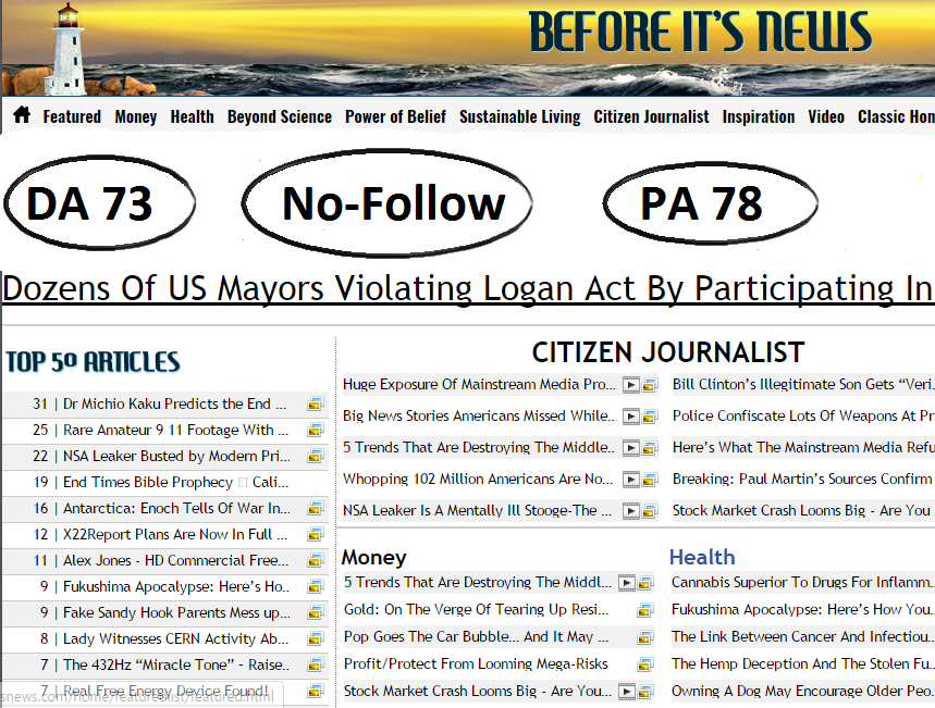 will guest Post On Beforeitsnews DA73 HQ News Site With Huge Monthly  Visitor for $50
