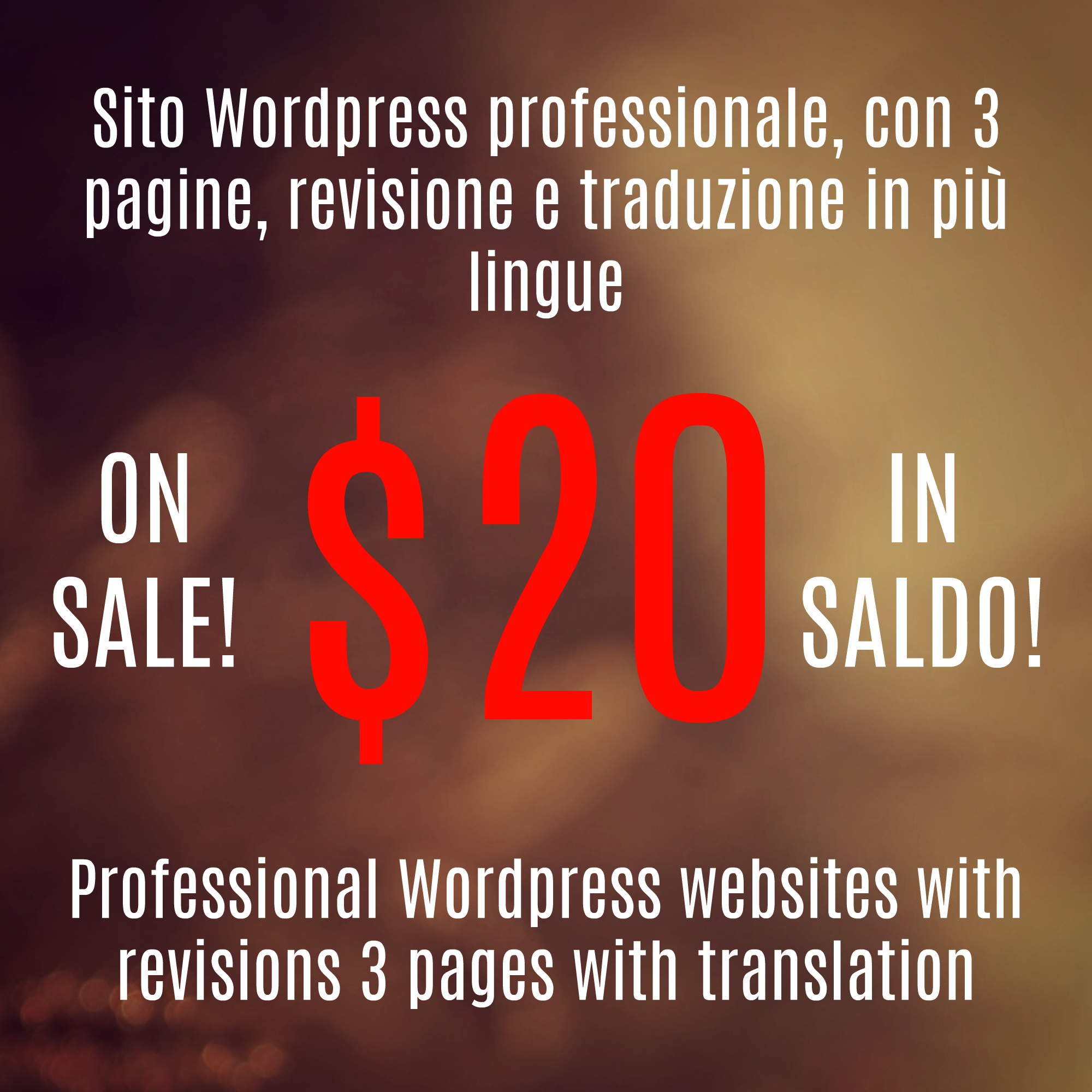 Siti wordpress in italiano con 3 pagine,  traduzione in inglese ed installazione dei plugins