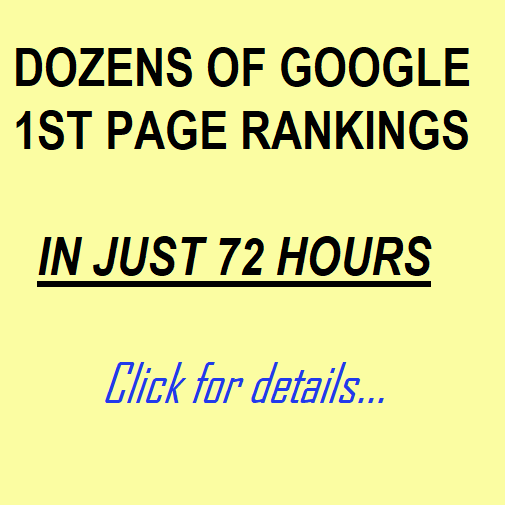 DOZENS OF 1ST PAGE GOOGLE RANKINGS IN JUST 72 HOURS (Monthly Service, Zero SEO)