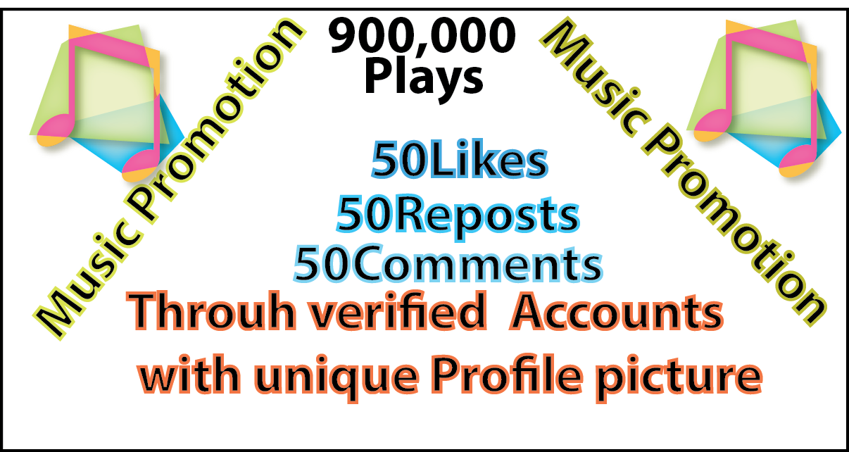 900,000 plays with 50 likes 50 repost 50 comments For a great music Promotion