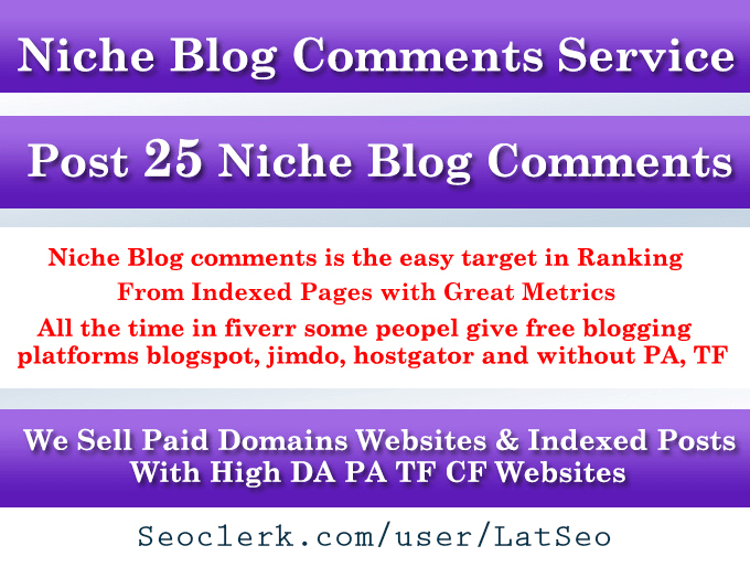 Do 25 Niche blog comments With High DA PA TF CF Sites