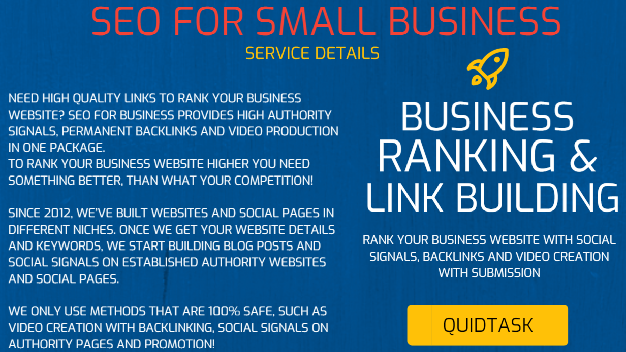SEO FOR ONLINE STORES - Rank your Small Business with Social Signals,  Backlinks that come with Video Created for your Home Page