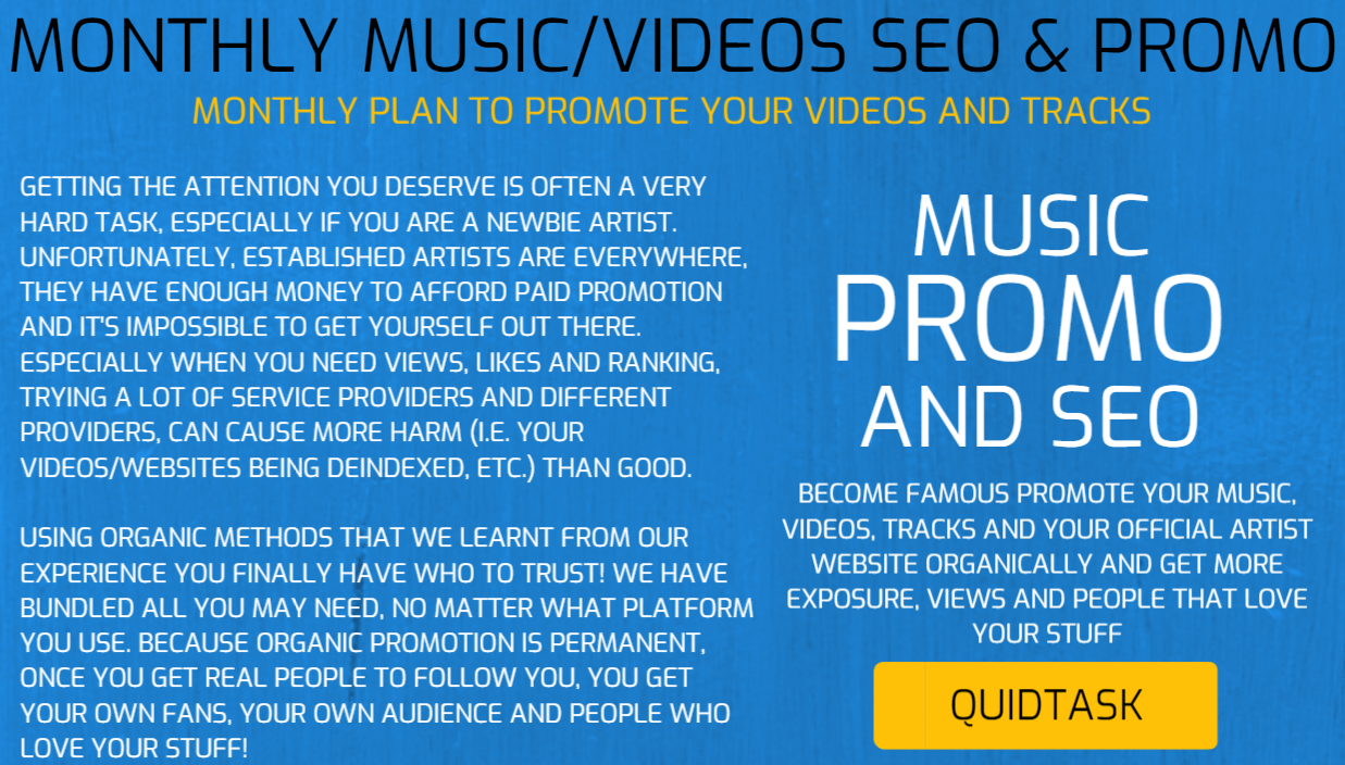 MONTHLY SEO AND PROMOTION FOR MUSIC,  ARTISTS AND VIDEOS - Promote Your Music,  Videos,  Tracks and Your Official Artist Website Organically and Get More Exposure and People That Love Your Stuff