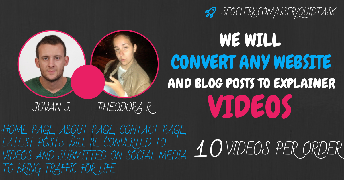 Convert Website To Videos - 10 SEO Videos For Your Pages and Posts and submission on Social Media to bring traffic for life