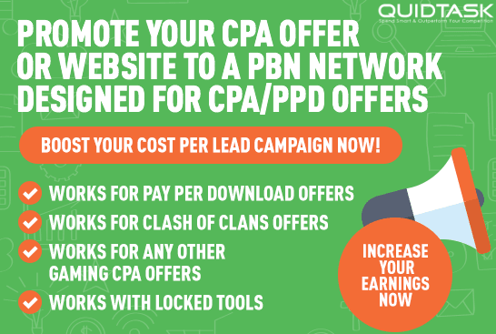 CPA SEO and Promotion - Advertise your CPA offer or Website to a PBN Network Designed for CPA and PPD offers