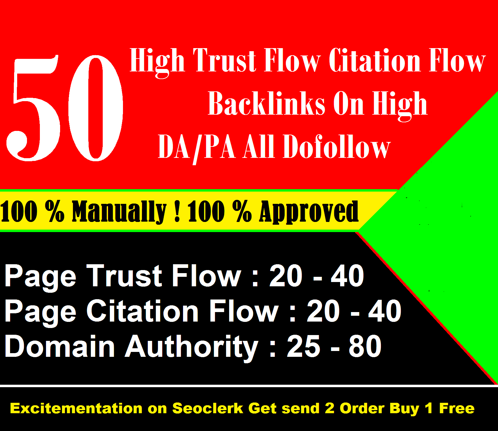 50 High Trust Flow Citation Flow Backlinks On High DA/PA ALL Dofollow