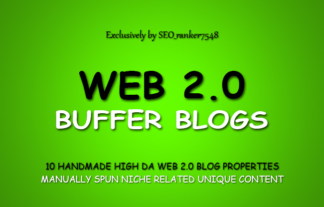 10 Handmade Web 2.0 Buffer Blogs with Login, Unique Content, Image & Video