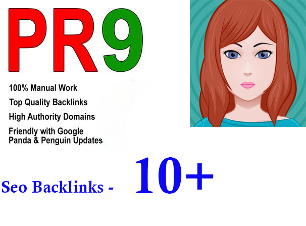 Manually do 10+ Pr9 seo backlinks on your website instant start