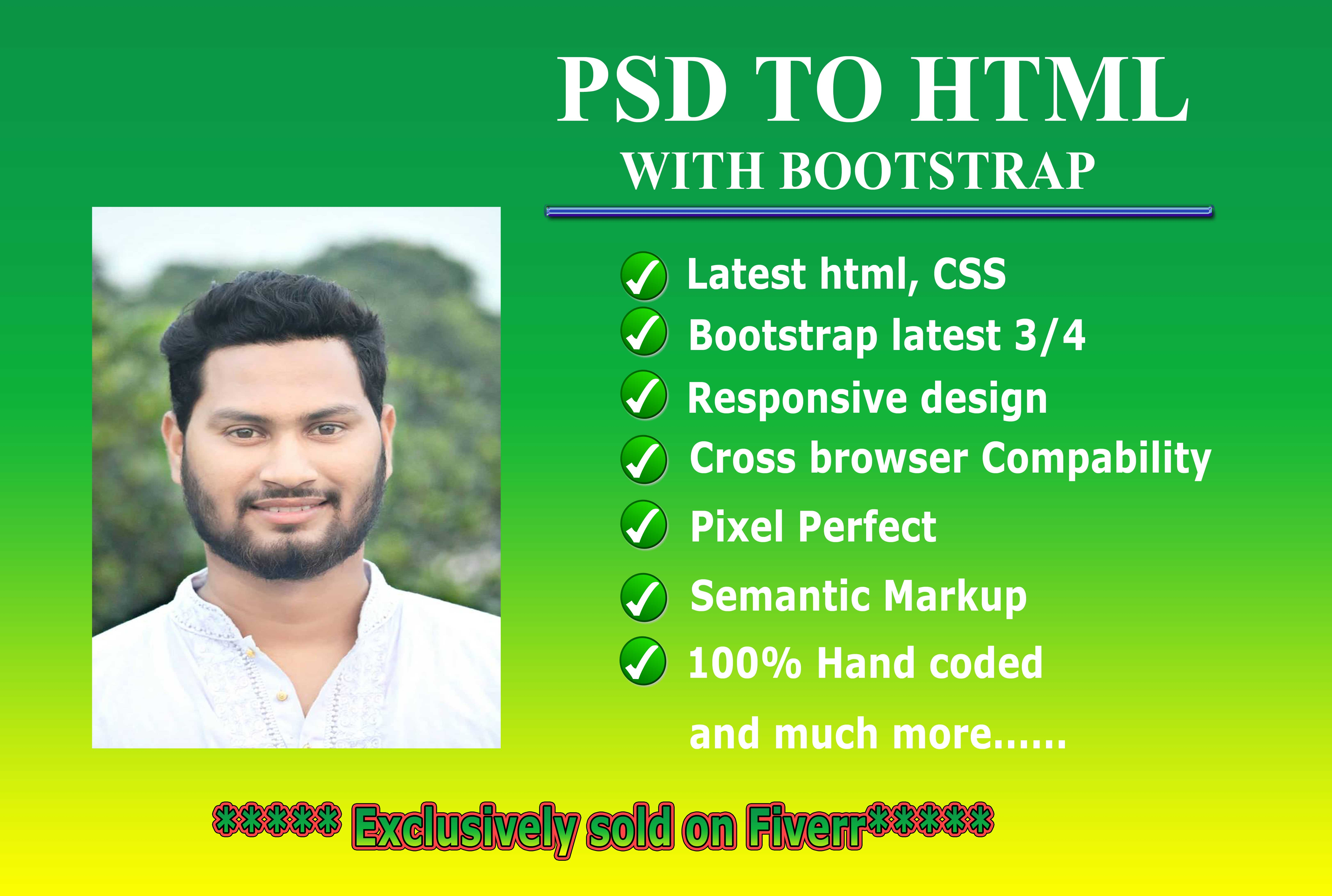 I Will Convert PSD To Html5,  Css3 And Responsive Bootstrap