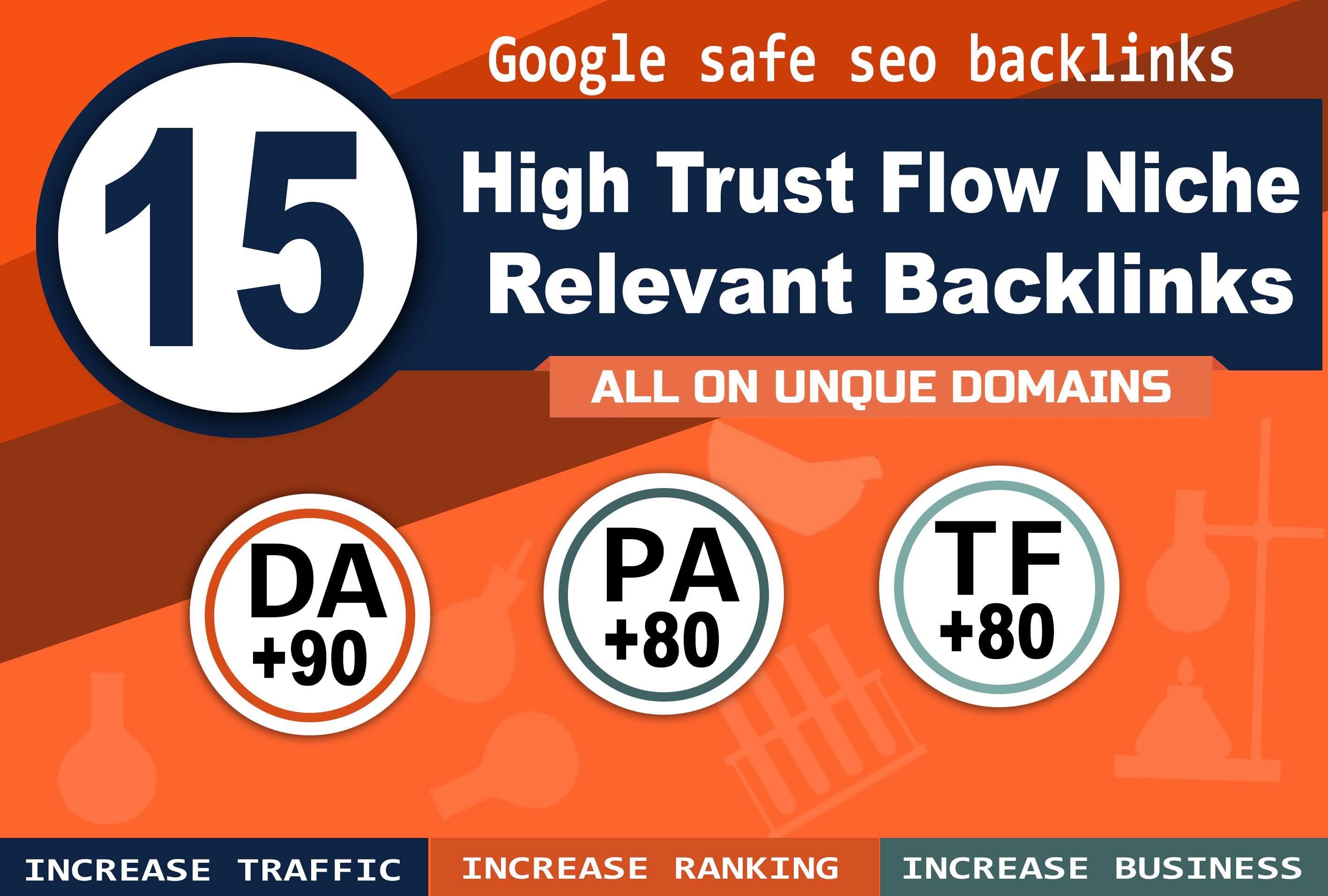 cheap manually 15 high authority DA +90 backlinks high trust flow +80