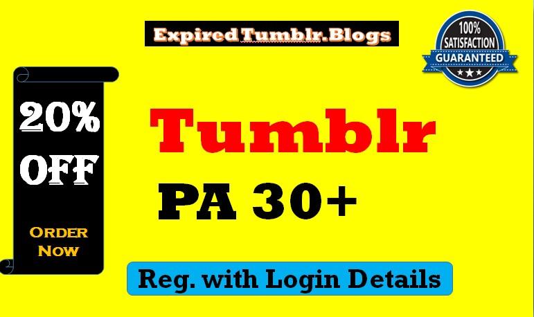 Registered 50 Expired Tumblr Blogs Pa 30 Plus