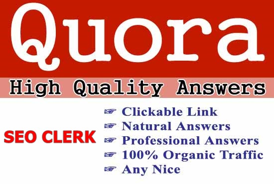 20 Answers Backlinks PR 9 Quora with your Keyword and clickable backlinks