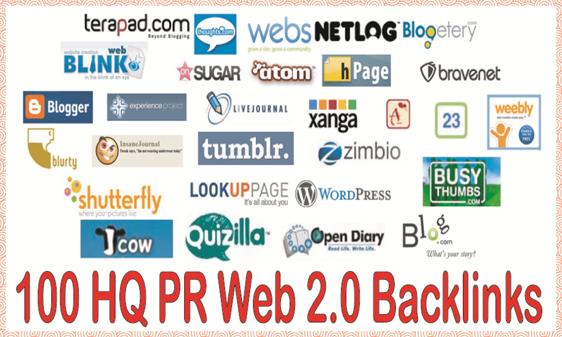 Create 100 web 2.0 blog of Highly Authorized Google Dominating  & Most Effective Links