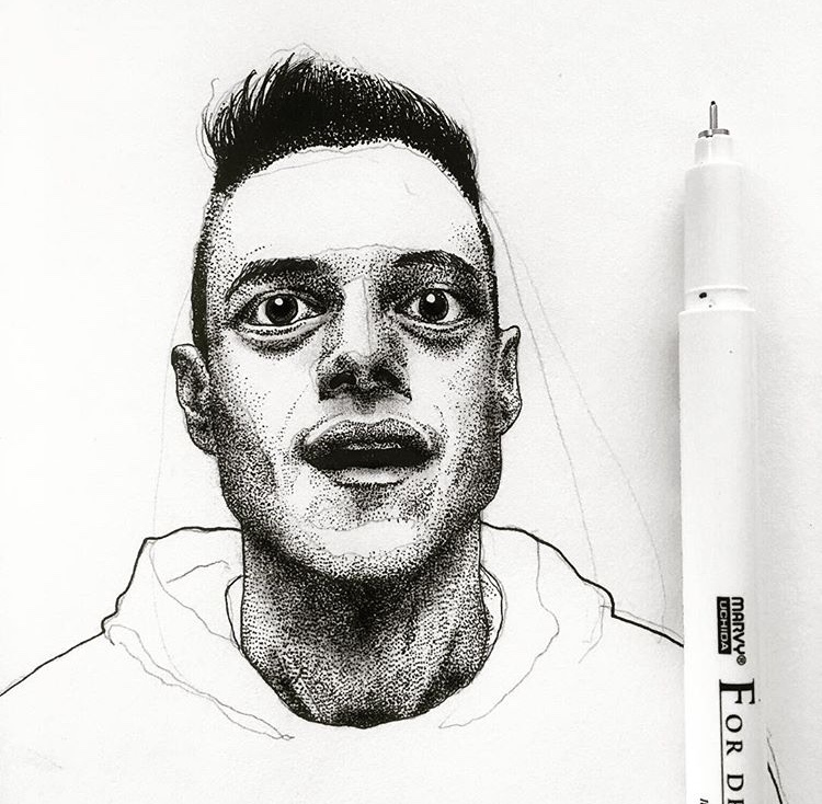 Portrait hand drawing