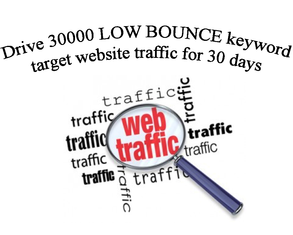 Drive 30000 LOW BOUNCE keyword target website traffic for 30 days.