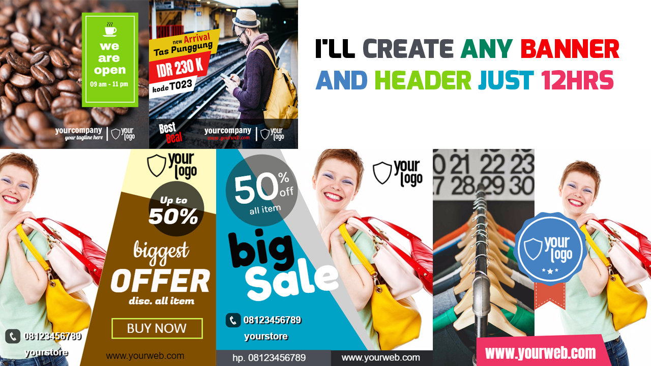 I'll create any banner and header just 12hrs