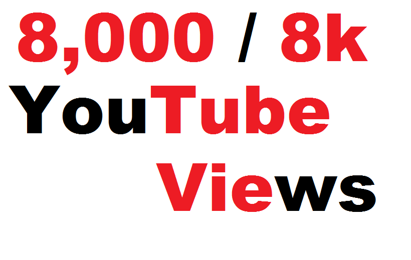 Get 8000 To 9000 High Quality Non Drop YouTube Views Fully safe Guarantee