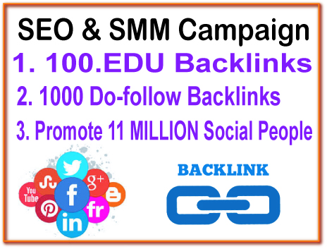 SEO & SMM Campaign - 100. EDU Backlinks- 1000 Do Follow Backlinks - 11 Million Social Promotion
