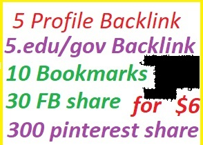 10 Profile backlink edu/gov+20 Bookmarks+200 pinterst share+15social media share