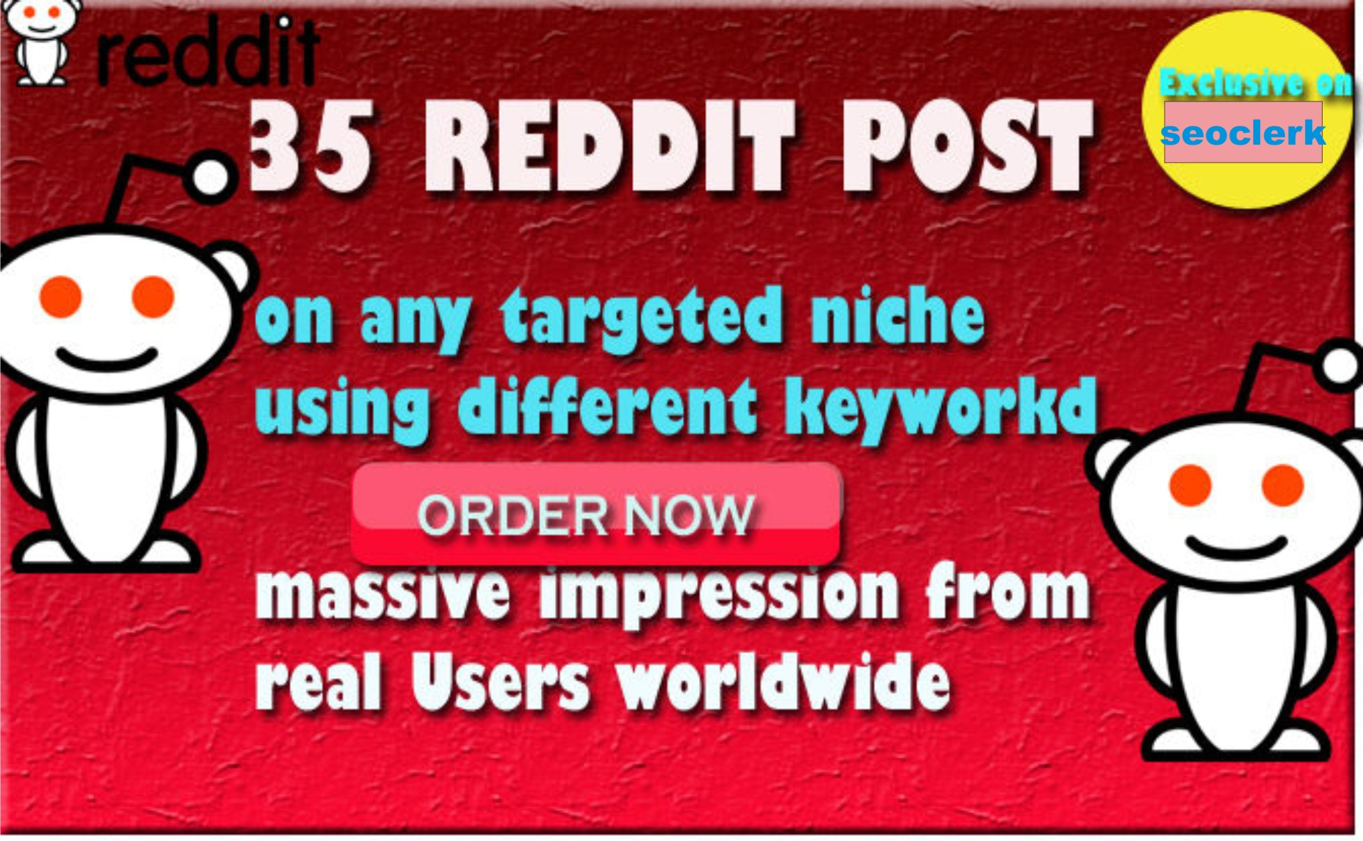 promote your website and do 10 post on reddit on any niche