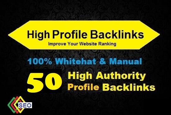 50 High DA Profile Backlinks,  Manual linkbuilding