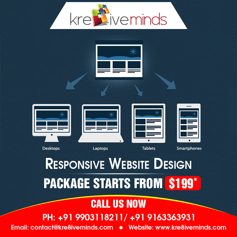 Kre8iveminds Technologies launches responsive web design packages at just $199! Contact Us!