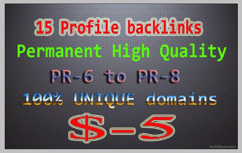 20 high quality PR6 to PR8 High PA,  DA backlinks