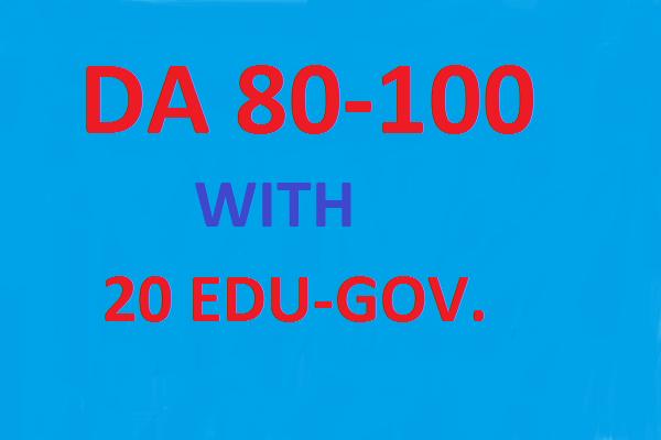 Create 60 Backlinks Da 80 To 100(40 links) And 20 Edu-Gov.average DA 40-100 20 links