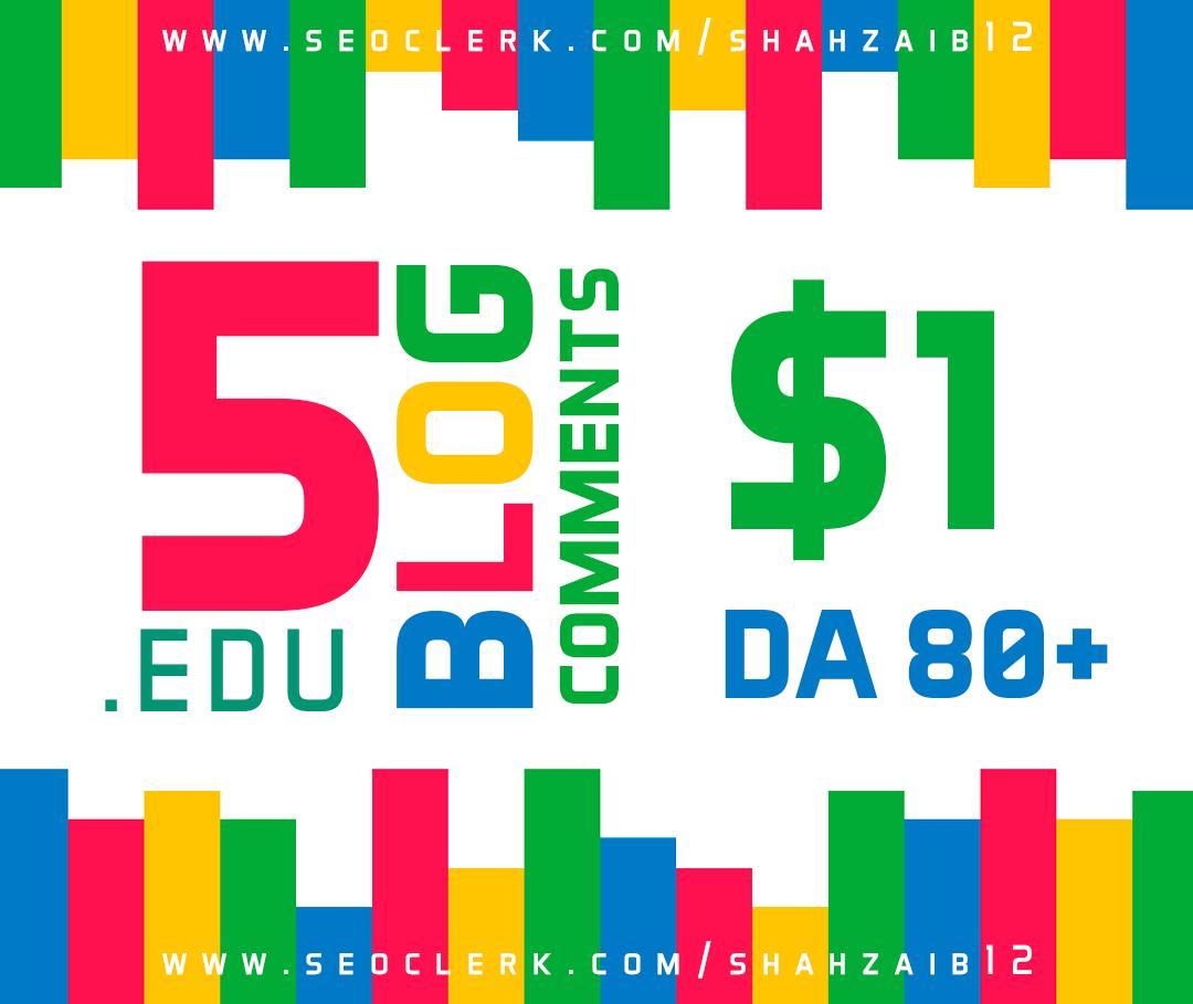 Provide you 3 .Edu Blog comment DA 80 +