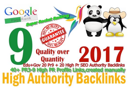 I will manually do High Pr SEO Profile 40 and 20 Pr9 + 20 Edu+Gov