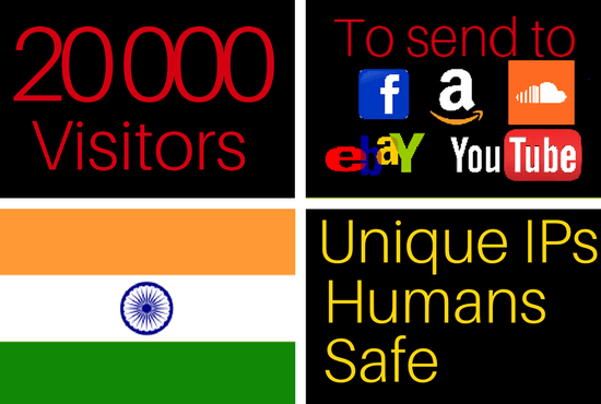 20k traffic visitors from India to your website
