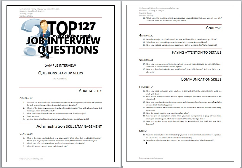 (127Questions) SAMPLE INTERVIEW  QUESTIONS STARTUP NEEDS