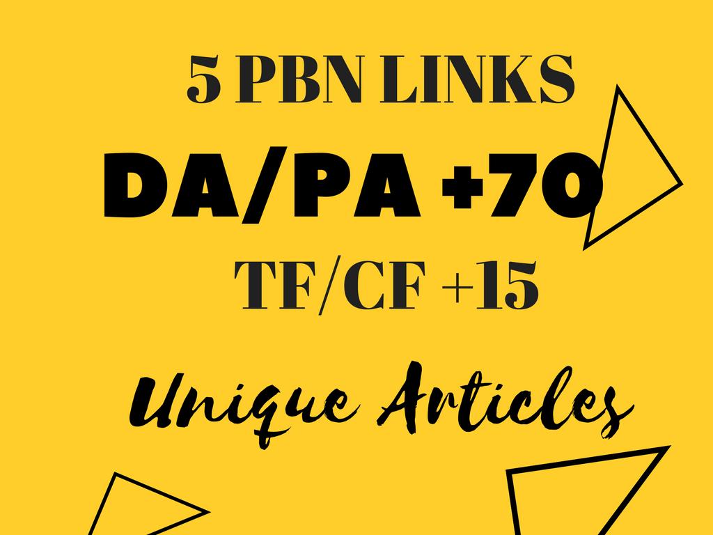 5 Homepage DA PA +70 PBN Exclusive Links HIGH TF CF