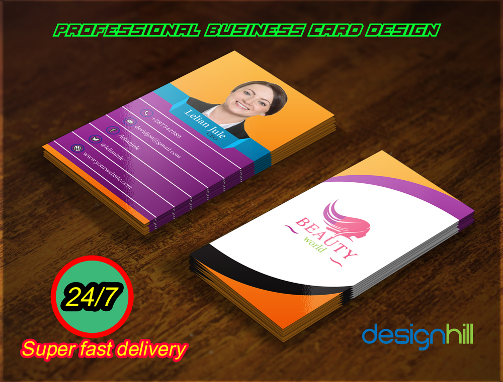 Double Sided Professional Business Card Design  within 24 hours