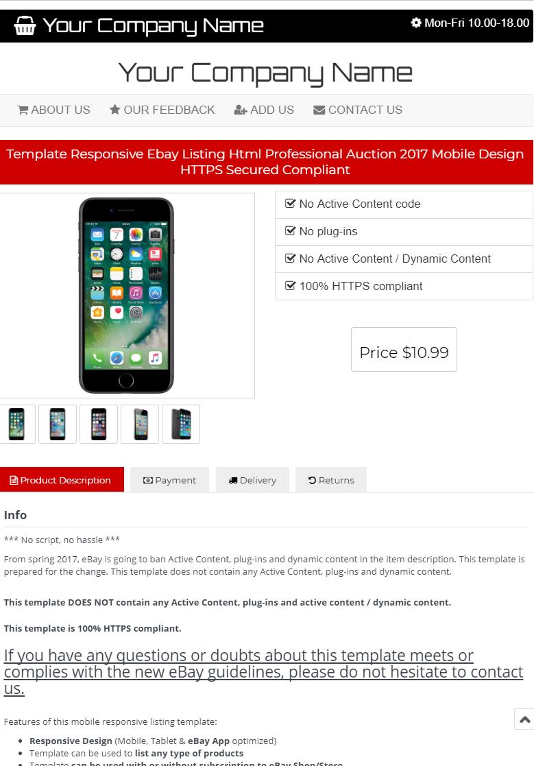 Ebay Listing Template Design Auction Mobile Professional Responsive Html Custom