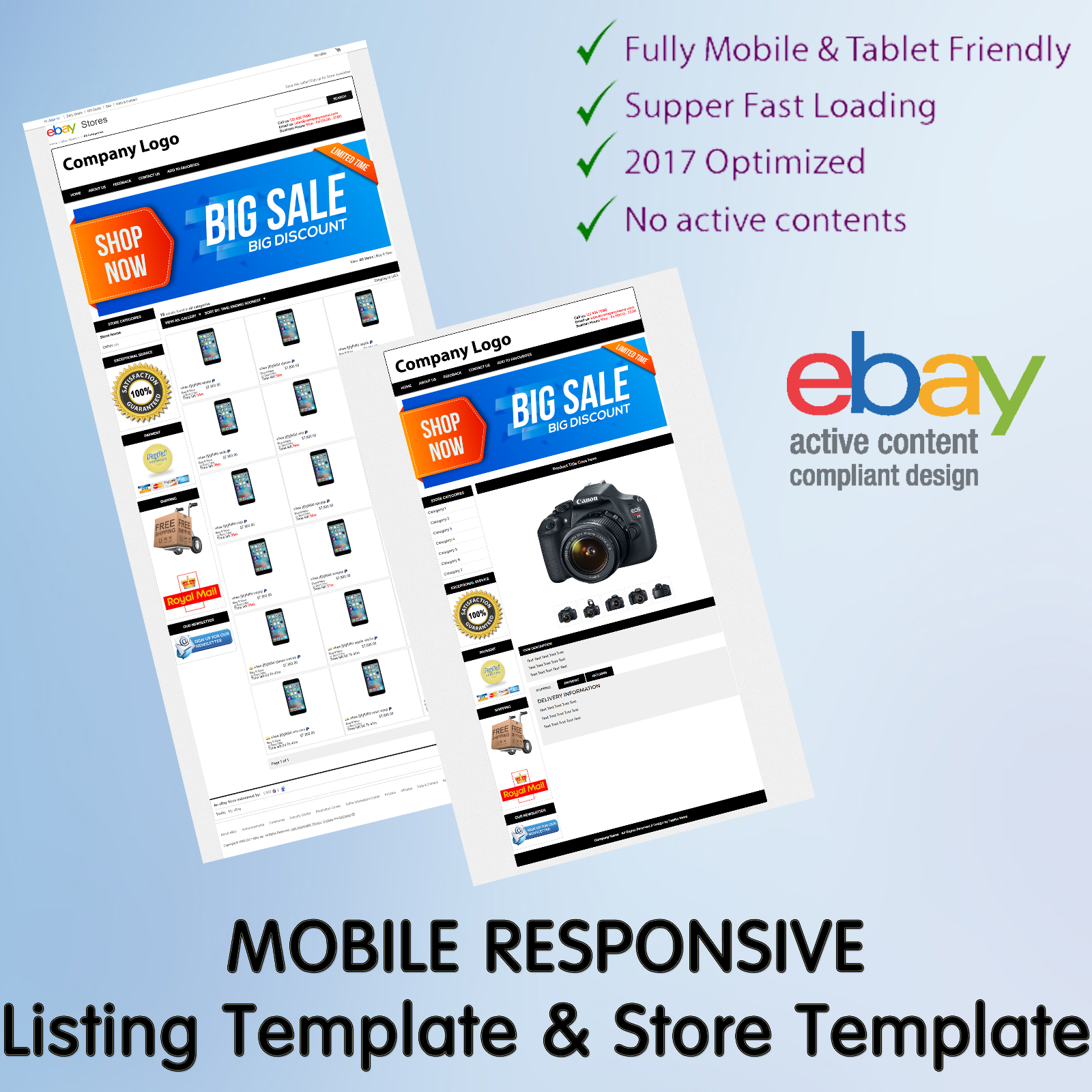 Ebay Template Design Auction Mobile Professional Responsive Html For - Ebay item template