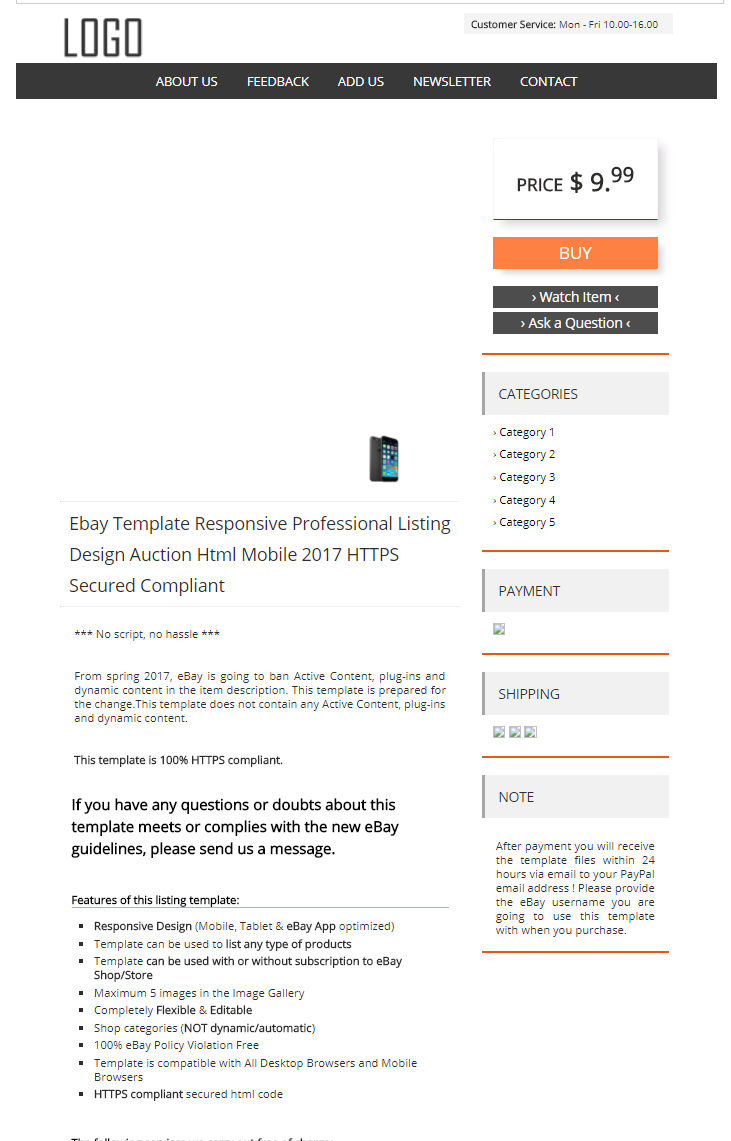 Ebay Template Design Auction Mobile Professional Responsive Html For - Ebay website template