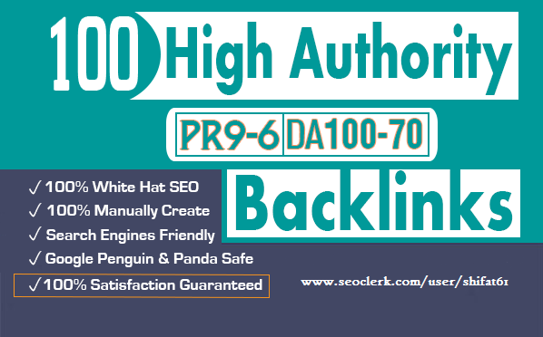 100 SEO Backlinks From High Authority Domains