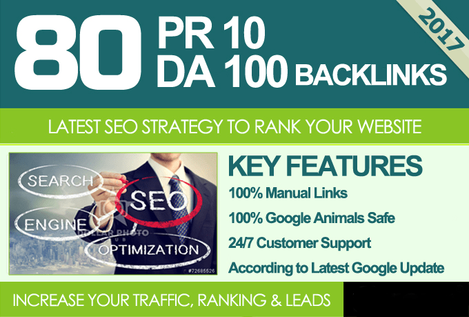Manually Create 80 unique PR10 SEO backlinks on DA100 sites
