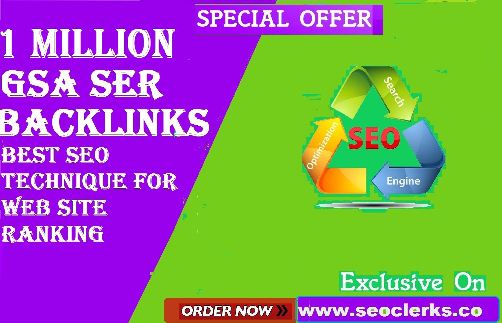 1000,000 GSA SER Verified Backlinks for SEO Ranking