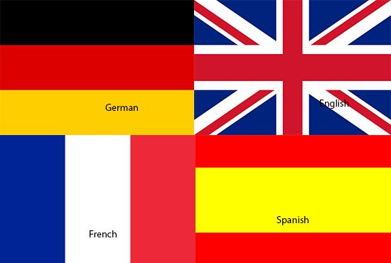 Translate English to French, German, Spanish and vice Versa