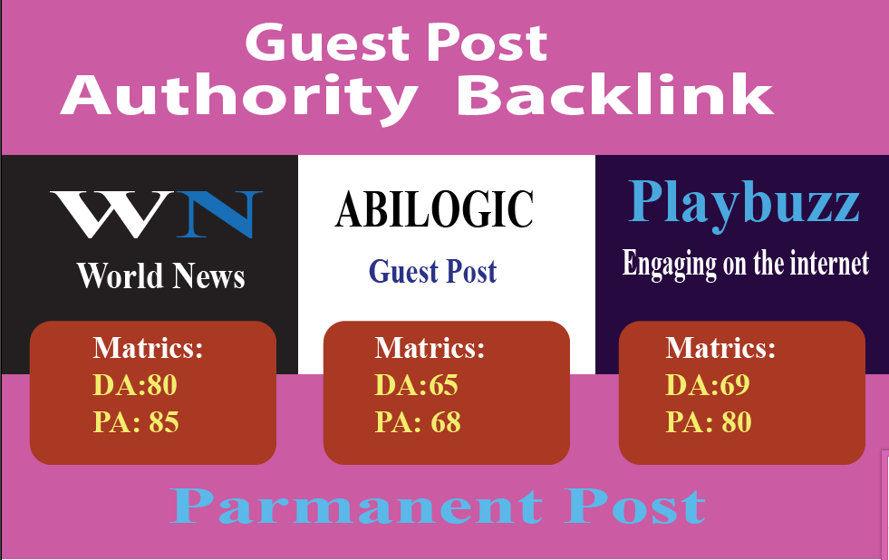 Write And Publish High Quality Guest Post On 3 sites blogvin Da90, Wn Da80  Playbuzz Da69 for $40