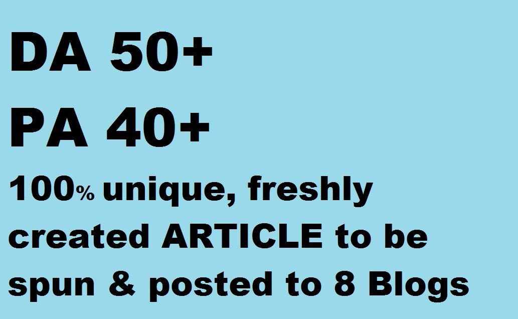 8 Blog posts on DA 50+, PA 40+ blog posts on PBN(of web2.0)