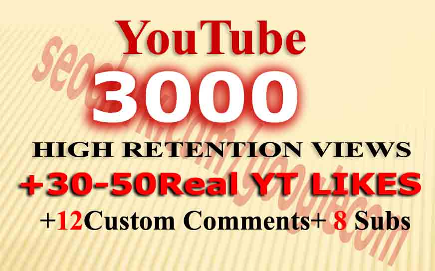 Instant 3000 Monetizable views+ 80Likes+ 12comments+ 8 Subs