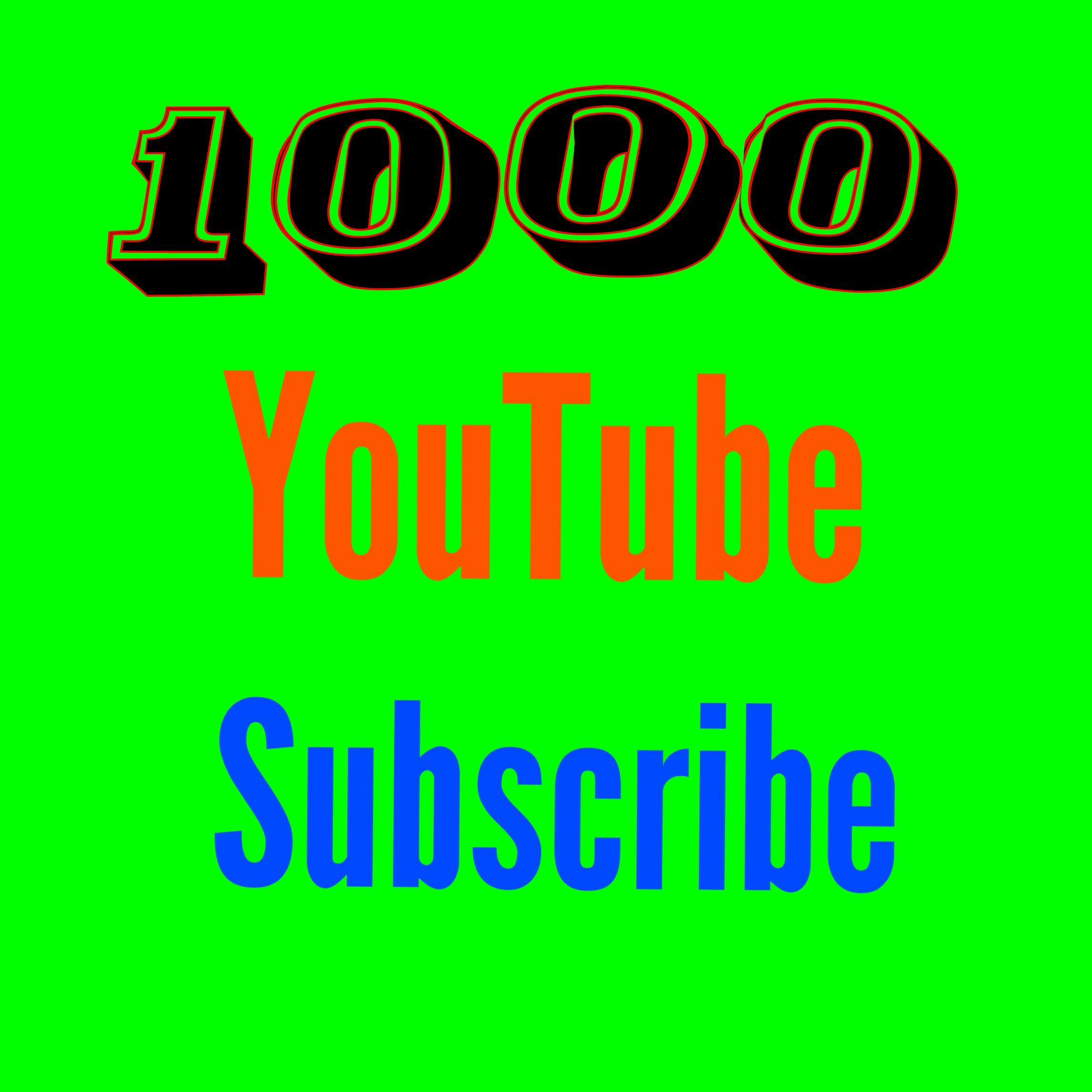 Active 1000 You'tube subs'cribe nondrop guaranteed