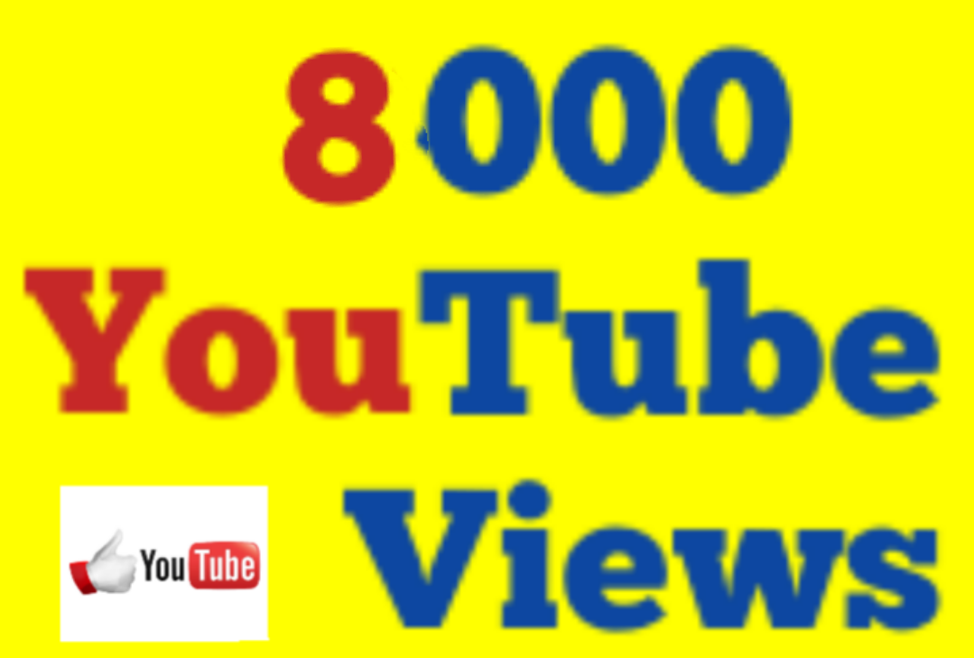 8,000 High Quality Non Drop Youtube V iews 12/36 hrs Guaranteed