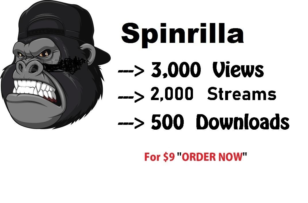 3,000 views 2,000 streams 500 downloads Spinrilla Mixtape