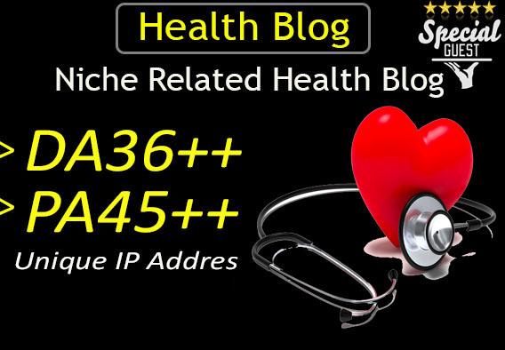 do guest post in da36 HQ health blog